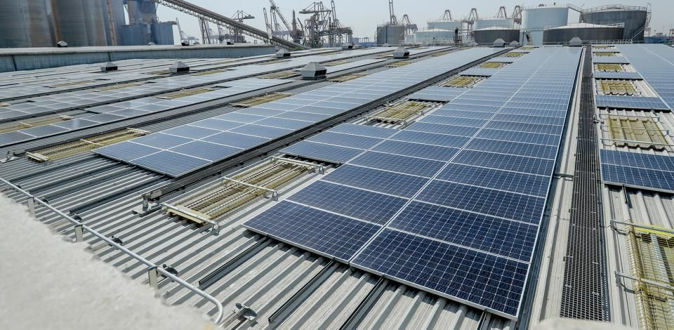 Total Lubricants Blending UAE solar photovoltaic rooftop system in Dubai.